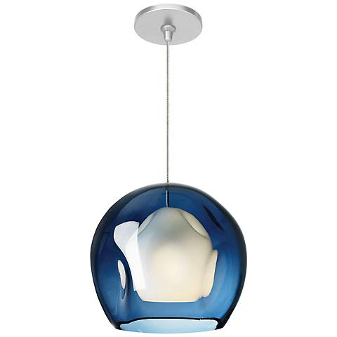 "LBL Mini-Jasper FSJ 8 3/4"" Wide Blue Glass Mini Pendant"