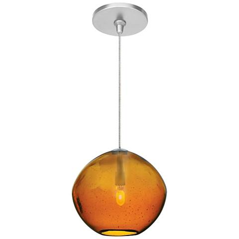"Mini Isla Amber 7"" Wide Satin Nickel Pendant"