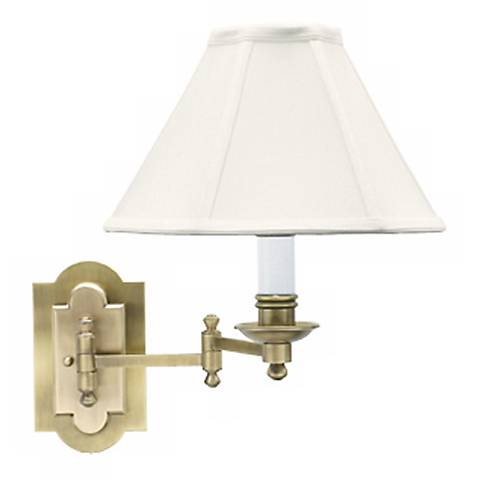 Club Collection Antique Brass Plug-In Swing Arm Wall Lamp