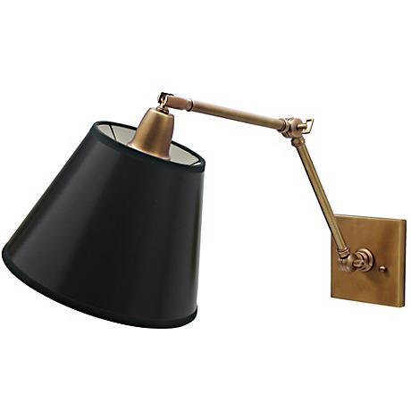 Hardwired Swing Arm Wall Lamps : Weathered Brass Black Shade Hardwire Swing Arm Wall Lamp - #47405 Lamps Plus