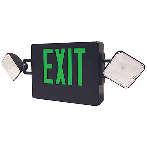 Black and Green Emergency Light Exit Sign