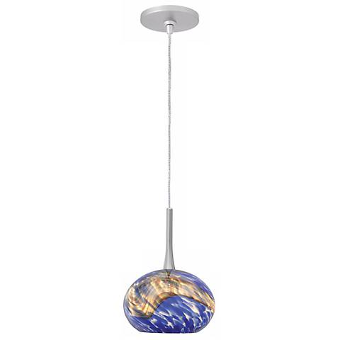 "LBL Neptune I 5"" Wide Blue Glass Monopoint Mini Pendant"