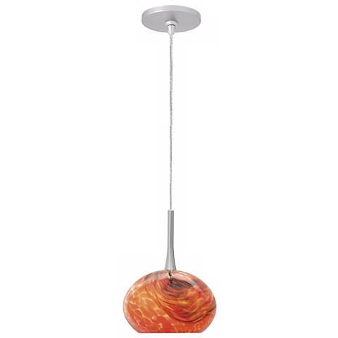 "LBL Neptune I 5"" Wide Red Glass Monopoint Mini Pendant"