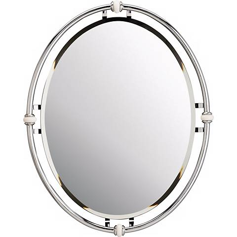 "Pocelona White Porcelain Accented Chrome 30"" High Mirror"