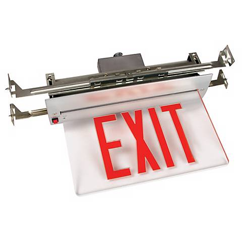 Recessed LED Red Exit Sign with Battery Backup