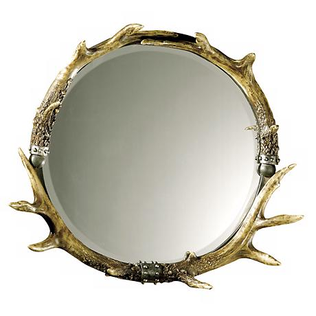 """Stag Horn Faux Antler 26"""" Wide Wall Mirror"""