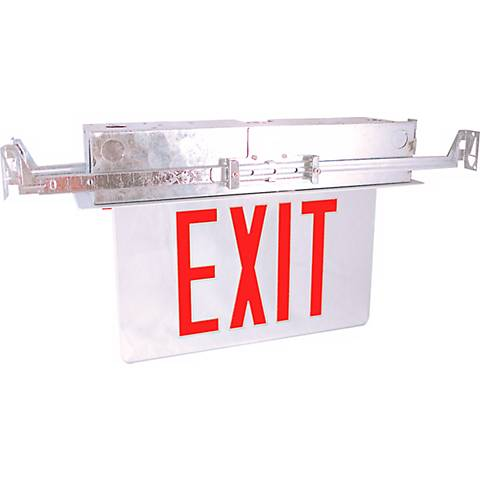 Recessed Red Battery Backup Exit Sign