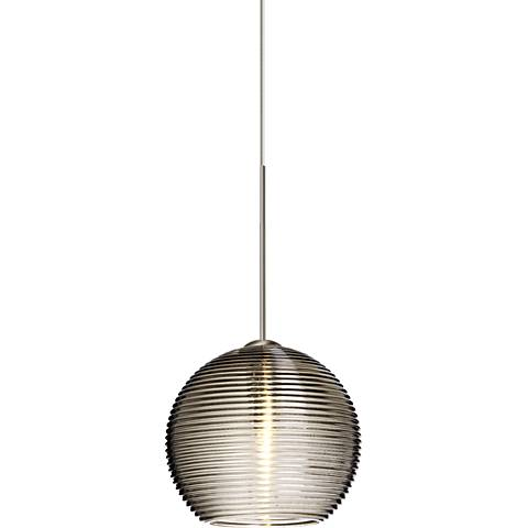 "Besa Kristall 6"" Wide Satin Nickel Smoke Glass Mini Pendant"