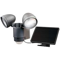 Led Outdoor Security Lights: Dark Bronze Dual Head Solar LED Outdoor Security Light,Lighting