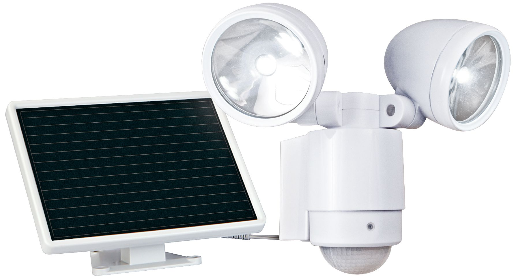 White Dual Head Solar Powered LED Outdoor Security Light