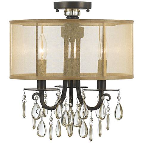 "Crystorama Hampton 14"" Wide English Bronze Ceiling Light"