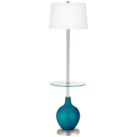 Turquoise Metallic Ovo Tray Table Floor Lamp