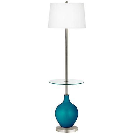 Turquoise Metallic Ovo Tray Table Floor Lamp