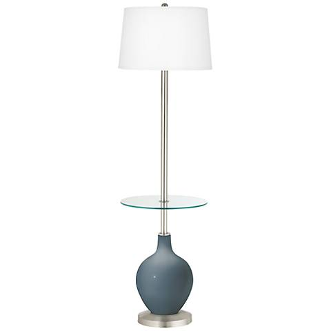 Smoky Blue Ovo Tray Table Floor Lamp