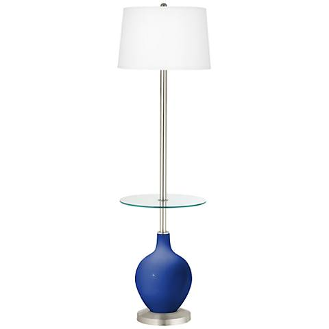Dazzling Blue Ovo Tray Table Floor Lamp
