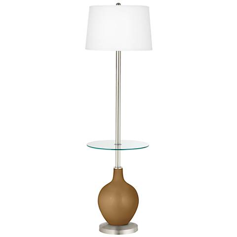 Light Bronze Metallic Ovo Tray Table Floor Lamp