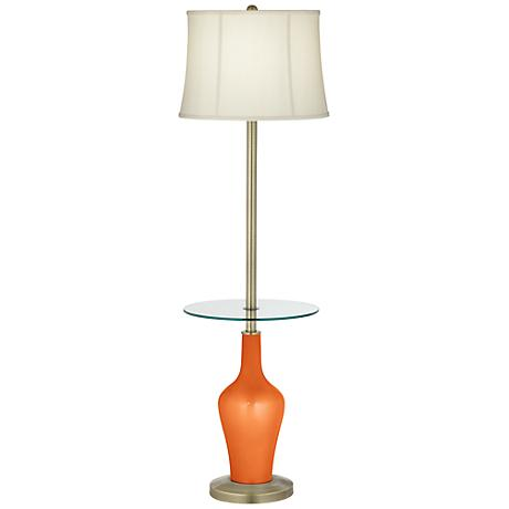 Burnt Orange Metallic Anya Tray Table Floor Lamp