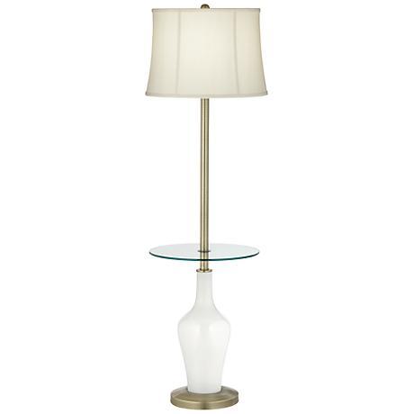 Winter White Anya Tray Table Floor Lamp
