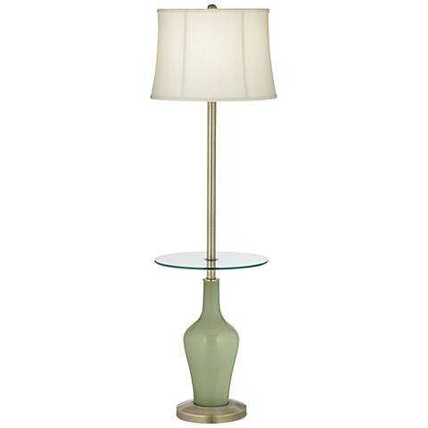 Majolica Green Anya Tray Table Floor Lamp