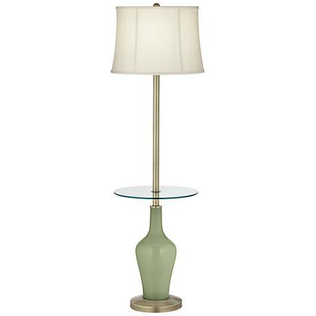 Majolica Green Anya Tray Table Floor Lamp