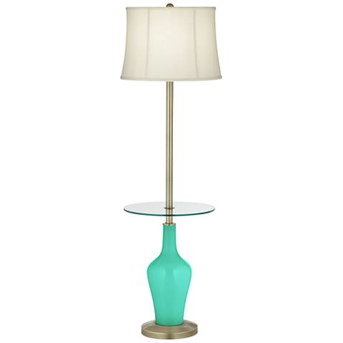 Turquoise Anya Tray Table Floor Lamp