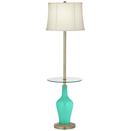 Turquoise Anya Tray Table Floor Lamp
