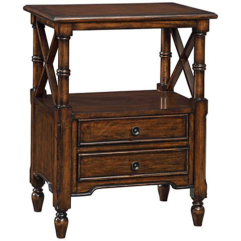 Tamryn Brown Cherry 2-Drawer Accent Table