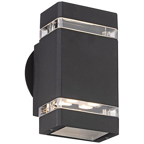 """Possini Euro Black 8"""" High LED Up/Down Outdoor Wall Light"""