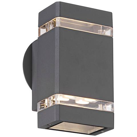 "Possini Euro Graphite 8"" High LED Up/Down Outdoor Wall Light"