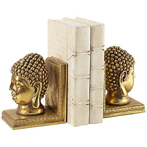 Gold Buddha Head Bookends Set