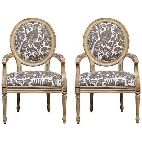 Set of 2 Port 68 Avery Arcadia Antique Ivory Armchairs