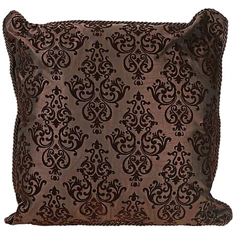"Flocked 20"" Square Chocolate Decorative Throw Pillow"