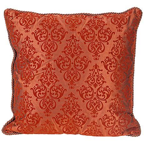 "Flocked 20"" Square Terracotta Decorative Throw Pillow"