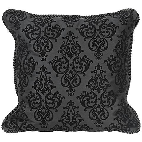 "Flocked 20"" Square Black Decorative Throw Pillow"