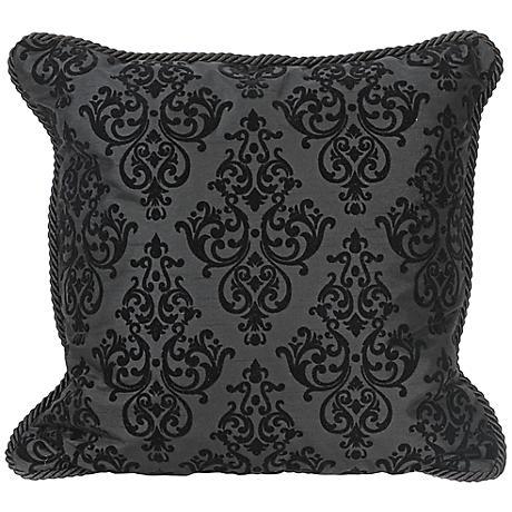 "Flocked 20"" Square Black Decorative Throw Pillow"