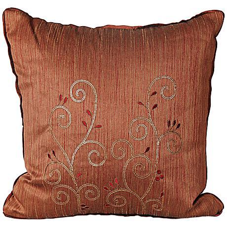 "Neera 17"" Square Burgundy Decorative Throw Pillow"
