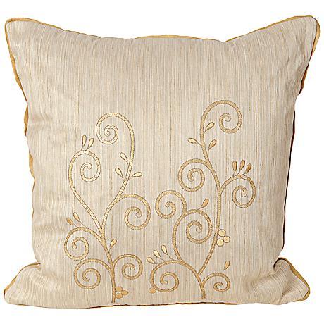 "Neera 17"" Square Ivory Decorative Throw Pillow"