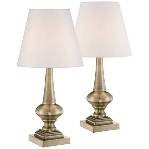 Set of 2 Antique Brass Finish Touch On-Off Table Lamps