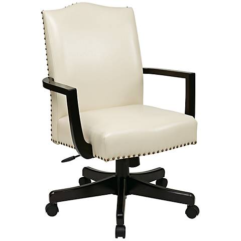 Morgan Cream Bonded Leather Manager's Desk Chair
