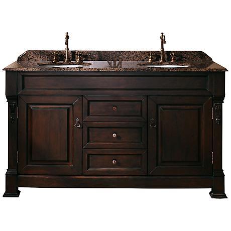"""James Martin Brookfield 60""""W Tropical Wood 2-Sink Vanity"""