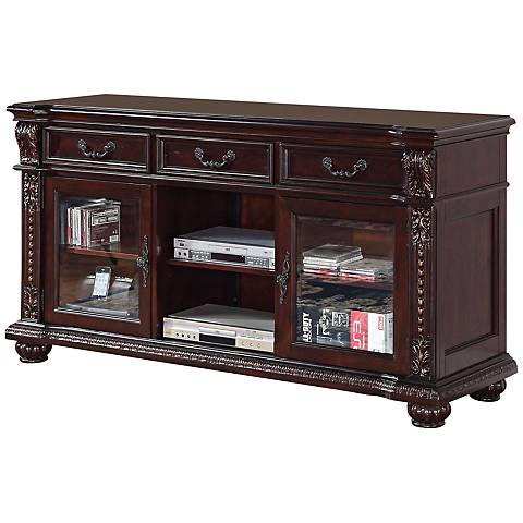 Anondale Carved Cherry and Glass TV Stand