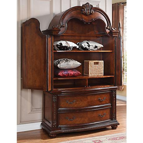 Nathaneal Decorative Carved Cherry TV Console