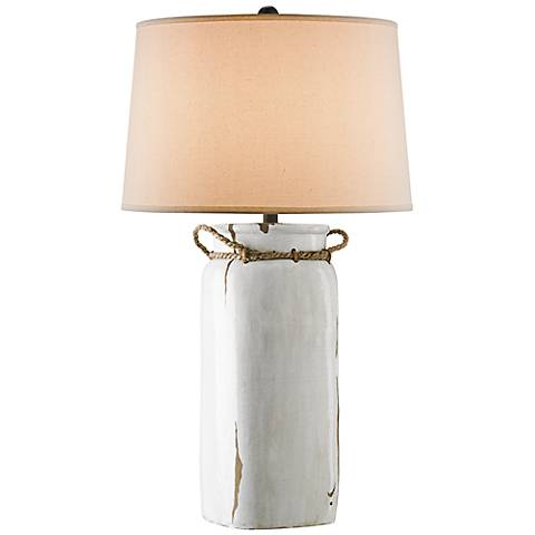 Sallaway Distressed White Table Lamp