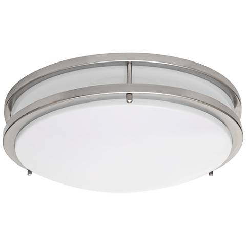 "Zaire Brushed Nickel 14""W Cool White LED Ceiling Light"