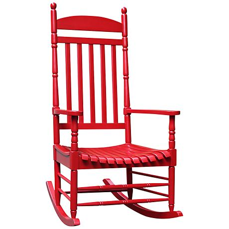Porch Rocker Turned Post Red Outdoor Rocking Chair