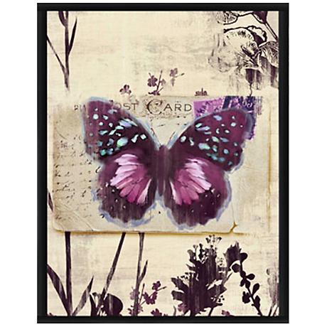 """Butterfly Postcard I 15 1/2"""" High Framed Giclee Wall Art"""