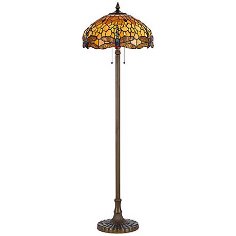 dragonfly tiffany style antique brass floor lamp 4g002 lamps plus. Black Bedroom Furniture Sets. Home Design Ideas