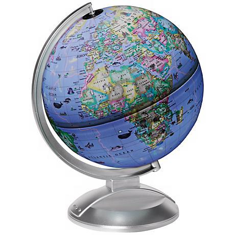 Silver Illuminated Kids' Desk Globe