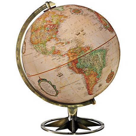 Compass Rose Brass Desk Globe