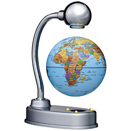 Levitating Illuminated Silver Desk Globe